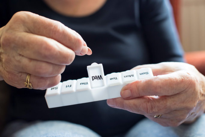 person taking a medication